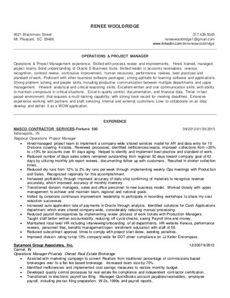 operations project manager resume wooldridge