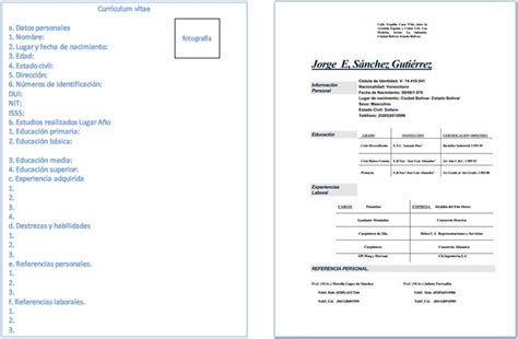 Modelo Curriculum Normalizado Ministerio Curriculum Vitae Formato En Blanco