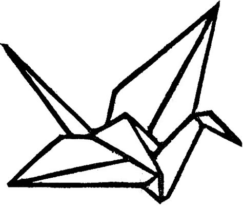 Origami Crane Outline - open space designs carved st prints