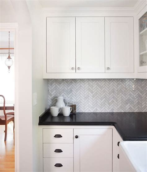 gray distressed kitchen cabinets with marble herringbone kitchens benjamin moore simply white cabinets and gray