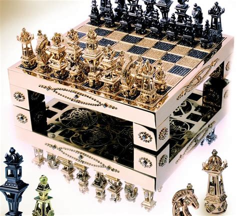 fancy chess set fancy a solid gold diamond encrusted chess set for 370 000 luxurylaunches