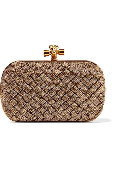 Tas Bottega Veneta Satin Clutch Gold bottega veneta the knot intrecciato gold tone clutch in metallic lyst