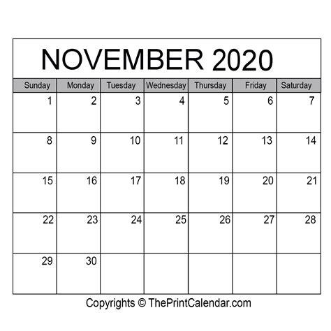 november  printable calendar template  word excel