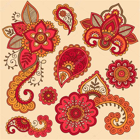 henna tattoo colours henna doodle mehndi colorful vector design elements