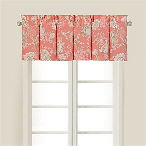 coral window curtains natural shells window valance in coral bed bath beyond
