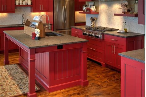 red painted kitchen cabinets modern shaker cabinetry with red paint and glaze finish