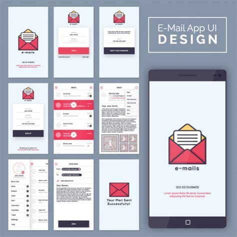 mobile mail email mobile application vector premium