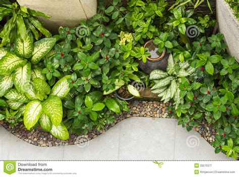 garden decoration concept small decoration garden on top view royalty free stock