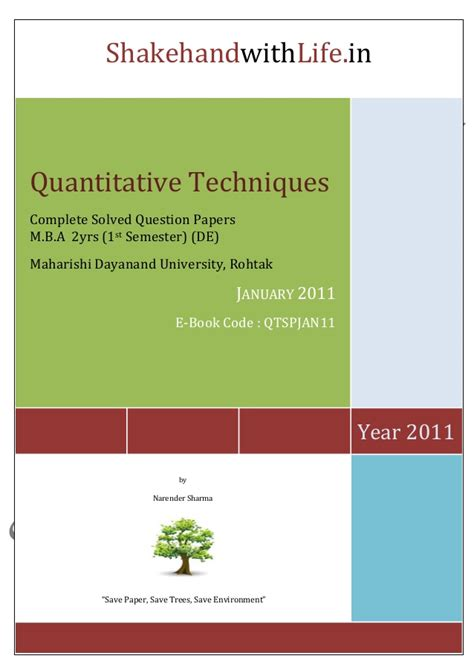 Quantitative Techniques Notes For Mba by Mba Previous Solved Paper Quantitative Methods Jan 2011