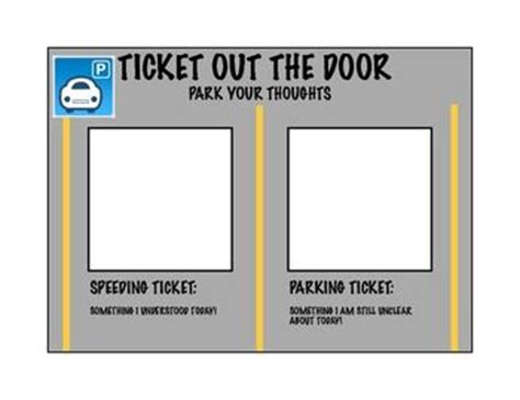 ticket out the door template ticket out the door