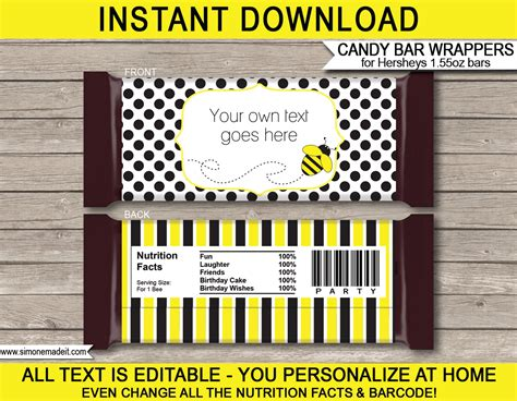 bee hershey bar wrappers personalized bars