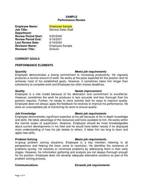 Evaluation Letter For Nurses sle performance review sle performance review employee name images frompo survey