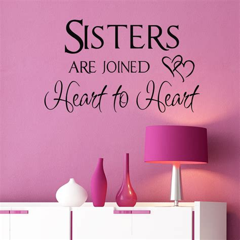 Inspirational Quote Wall Stickers mix wholesale order sister sign sisters are joined heart