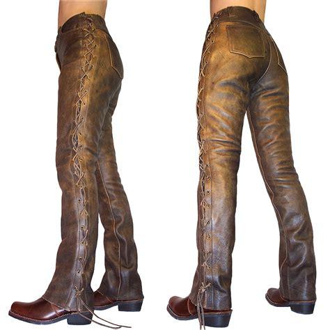 Women's Elite 2 Brown Leather Tie Side Jeans