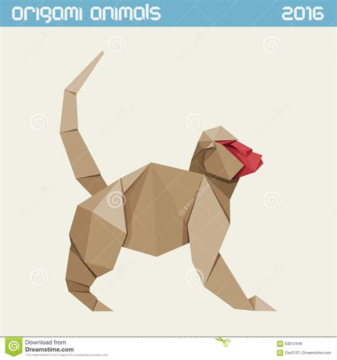 Origami Monkey Easy - origami monkey vector simple flat illustration new year