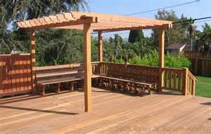 how to build a pergola on a deck built in storage bench