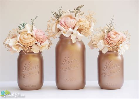 home decor centerpieces fall wedding decor tawny bronze painted mason jars