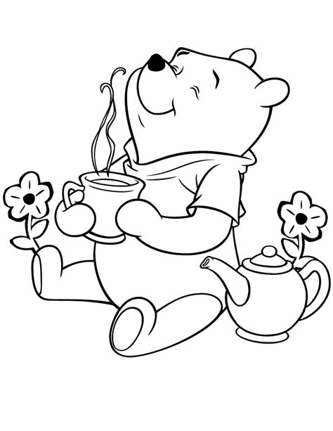 coloring pages pooh bear winnie the pooh bear having tea coloring page h m