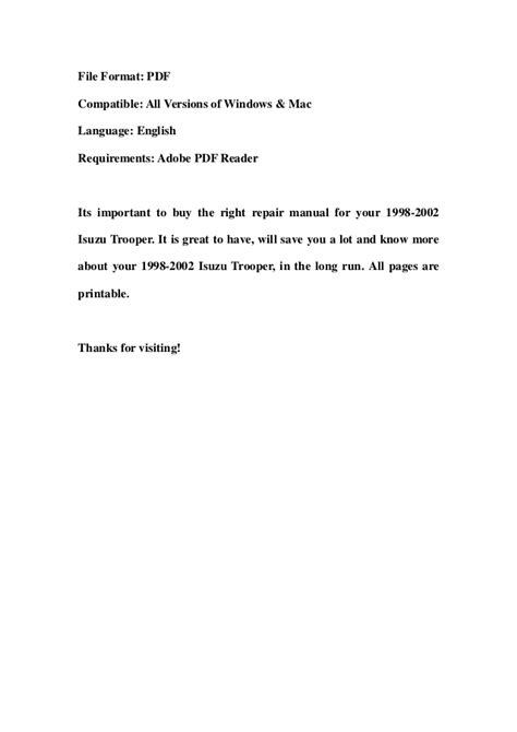 manual repair autos 2002 isuzu trooper on board diagnostic system 1998 2002 isuzu trooper service repair workshop manual download 1998