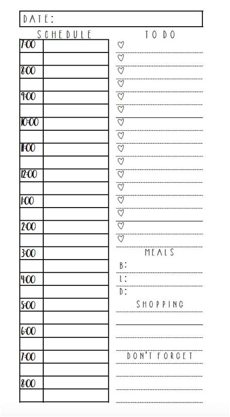 Free Editable Daily Planner Template