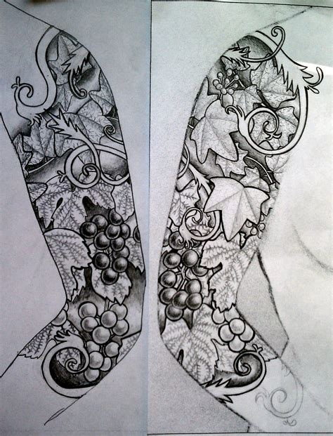 tattoo design paper microcosm leaf sleeve tattoo design
