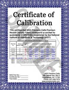 calibration certificate template nsg precision cells wav 7 didymium standard makes