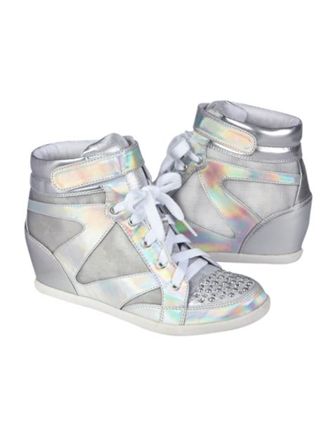 justice shoes holographic wedge sneakers from justice