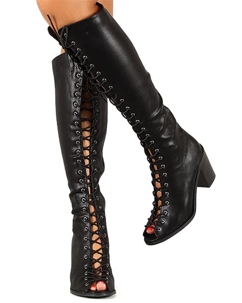knee high lace up boots with heel breckelles tina 14 new peep toe lace up chunky heel