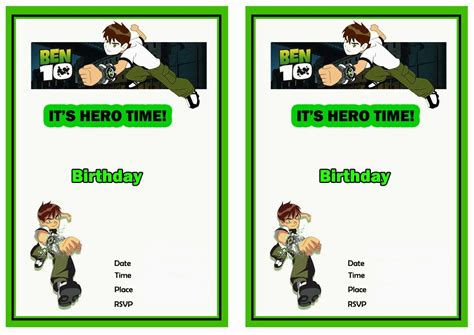 Ben 10 Free Printable Birthday Party Invitations Birthday Party Invitations Free Printables Ben 10 Birthday Invitation Cards Templates