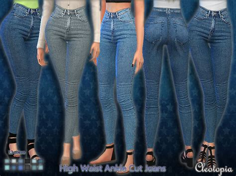 sims 4 high waisted jeans cleotopia s set38 high waist ankle cut jeans
