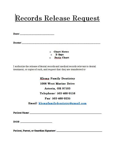 request for release of records template records release form klemp family dentistry