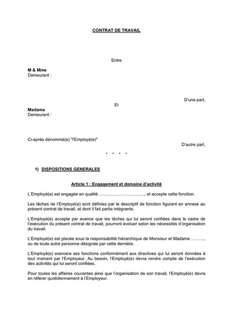 exemple avenant contrat de travail suisse document