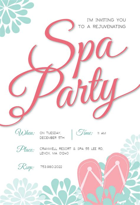 spa invitations templates free spa splendors free invitation template greetings