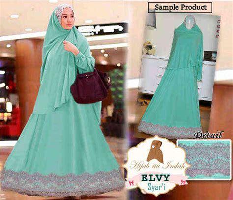 Jilbab Syari Renda Brokat Baju Gamis Elvy Syari Y1026 Busana Muslim Brokat Terbaru