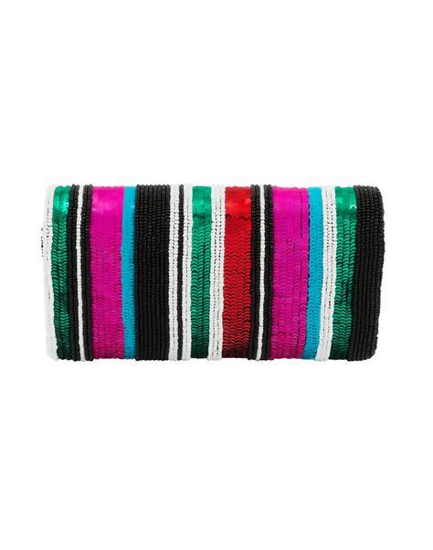 Multi Color Sequined Stripe Foldover Clutch   Santi   Halsbrook