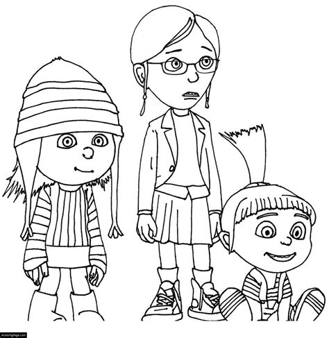 gru s daughters despicable me coloring pages printable