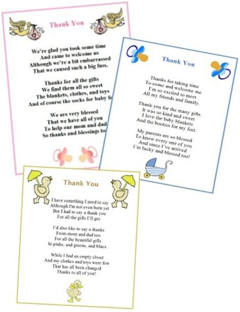 Baby Shower Poems For Boys by Free Printable Baby Shower Thank You Poems From Baby Boy