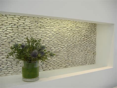 Kitchen Tile Backsplash Murals zen paradise standing pebble tile installations hall