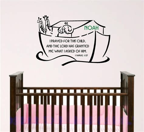 Scripture Wall Decals For Nursery Nursery Bible Verse Wall Noah Ark With Custom Child S
