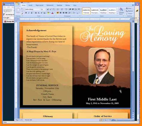 funeral programs templates microsoft word 5 free funeral program template microsoft word joblettered