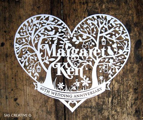 wedding papercut template personalised wedding anniversary day papercutting template