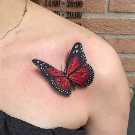3d monarch tattoo on collar bone