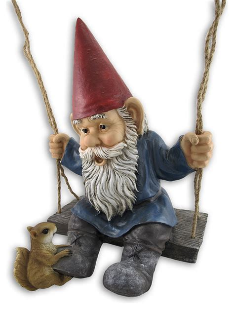 swinging gnome happy pastimes swinging garden gnome statue swing