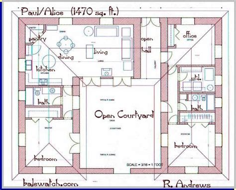 Straw Bale House Plans Courtyard 2 Bedroom U Shaped Floor Plans With Courtyard Clutterus A Straw Bale House Plan 1479 Sq