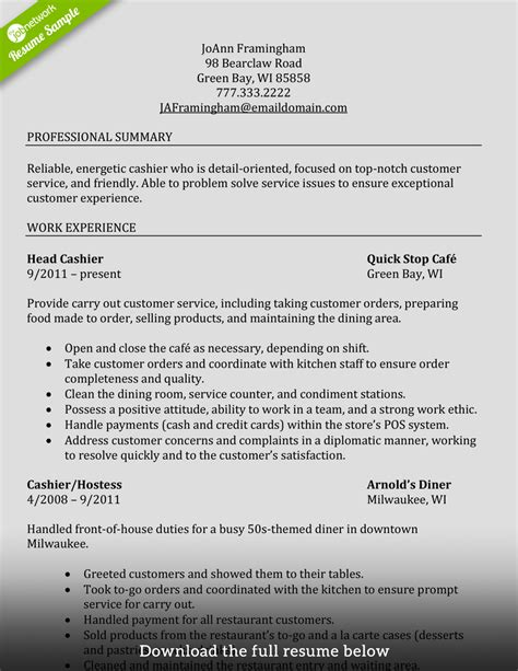 cashier resume sle fast food how to write a cashier resume exles included