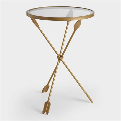 gold accent table gold metal and glass arley accent table world market