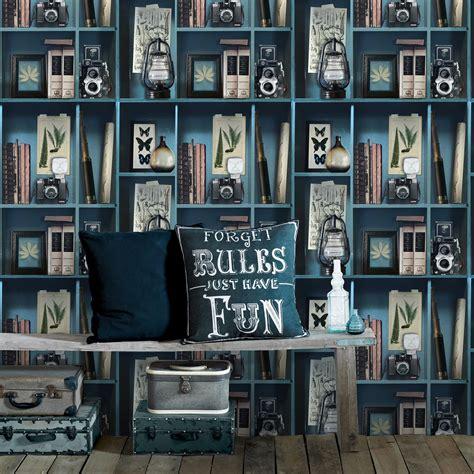 Papier Peint Intiss 233 Cabinet De Curiosite Bleu Leroy Merlin
