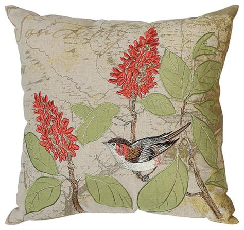 Decorative Pillows With Birds by Embroidered Bird Pillow Eclectic Decorative Pillows