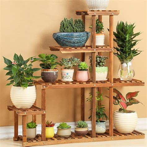 etagere plastik aliexpress buy wood 4 tier flower pot racks home