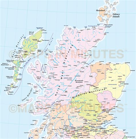 printable road map of scotland adm british isles county region admin map 1 5m scale